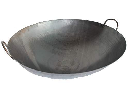 AAF Nommel ® Wok Ölwanne ca. 70 cm Durchmesser mit 2 Griffen/Henkeln mit rundem Boden für Gas, Gastronomie