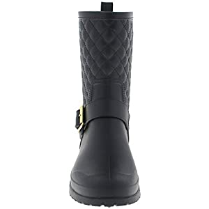 Capelli New York Ladies Matte, Quilted Shaft Mid-Calf Rain Boot with Ankle Strap Black 9