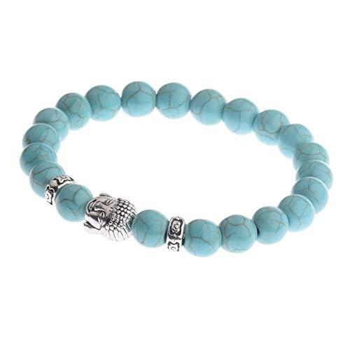 Black Lava Stone Beads Bracelet Mens Bracelets 2019 Yoga Meditation Gold Bracelet White Natural Stone Bracelet (7.5 Inch)