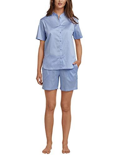 Schiesser Damen Pyjama kurz Zweiteiliger Schlafanzug, Blau (Air 802), 42 (Herstellergröße: 042)