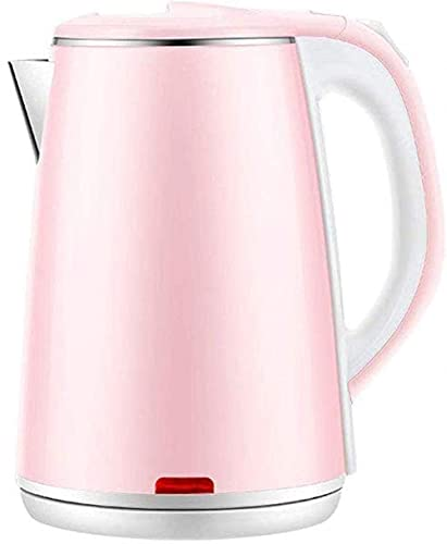 Tetera de agua inalámbrica, hervidor de agua eléctrico con filtro reutilizable Aislamiento de doble pared y protección contra ebullición sellada de silicona 1.8 litros 1500W rosa y acero inoxidable