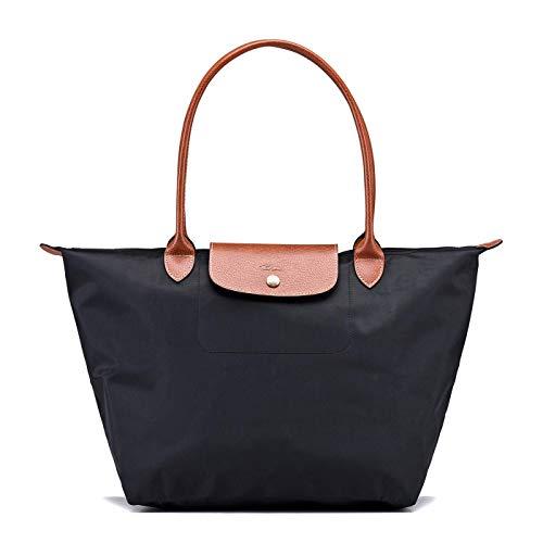 Long_champp Le pliage bolsos mujer,Bolso de hombro de Lona plegable Tote (negro)