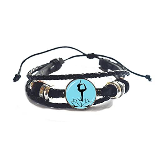 JV74 - Pulsera de fotos de bailarín de yoga, diseño de loto