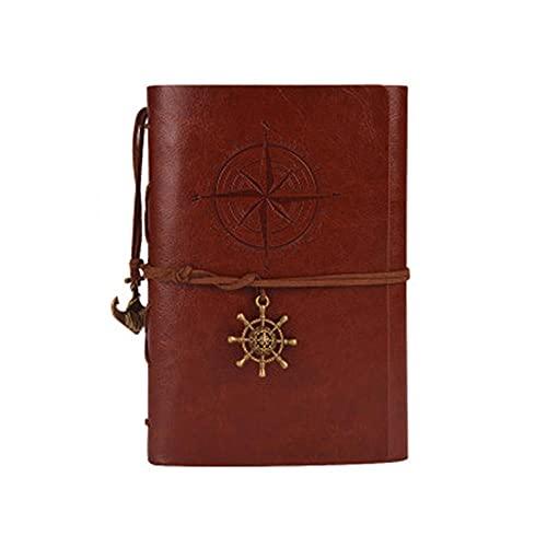 JUGTL Blanco Cuaderno Para Estudiante A6 Hojas Sueltas Ruled Diario Arte Retro Creativo Nostalgia Libreta Notas Marrón A6 130MMX183MM
