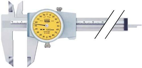 TESA Messschieber mit Rundskale 200 mm Abl. 0,02 mm mit Reibrad