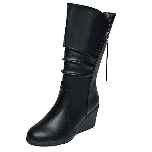 Zapatos de mujer Botines Mujer Martín Botas Zapatos de mujer tacones altos Señoras Otoño invierno Calentar Cuñas de tacón alto Cremallera Negro Casual Delgado Botas LMMVP (36, Negro)
