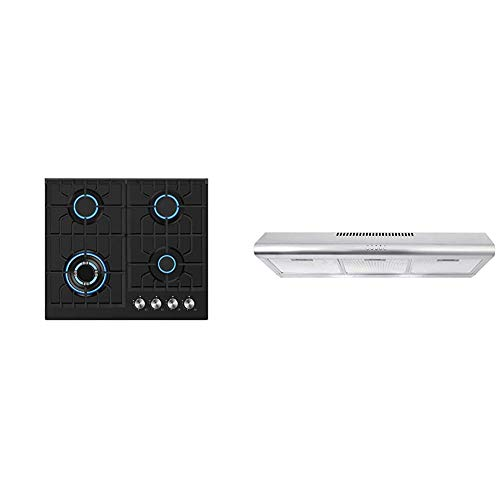 Empava 24 in. Gas Stove Cooktop 4 Italy Sabaf Sealed Burners, Black, 24GC28, Stainless Steel & Cosmo COS-5MU36 36 in. Under Cabinet Range Hood Ductless Convertible Duct, 36 inch