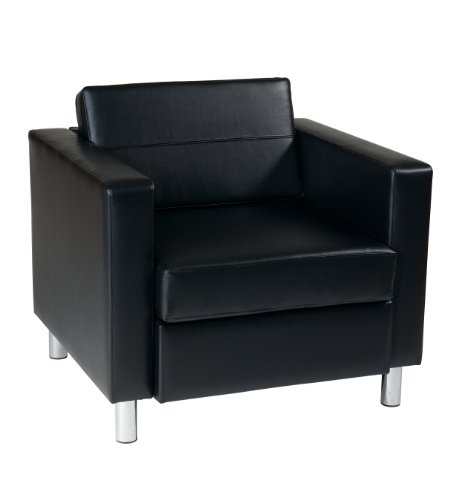 OSP Home Furnishings Pacific Arm Chair, Black