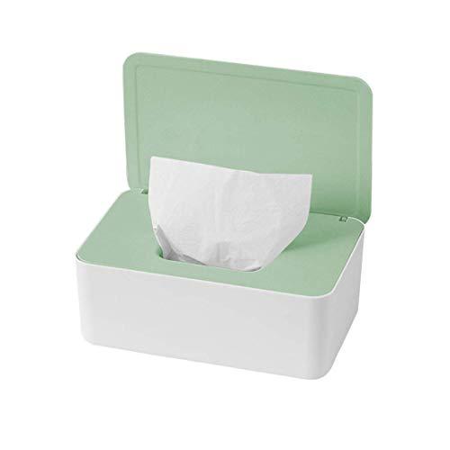 O-Kinee Feuchttüchter Box, Feuchtes Toilettenpapier Box, Feuchttücher Box Baby, Feuchttücher Aufbewahrungsbox, Kunststoff Feuchttücher Spender mit Deckel für Zuhause Büro, Weiß und Grün