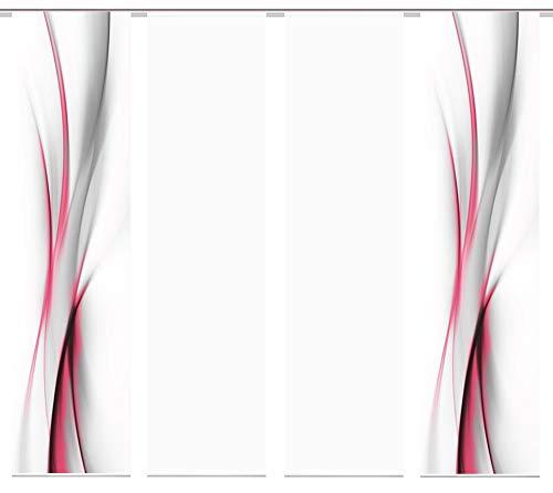 wohnfuehlidee 4er-Set Flächenvorhang, Deko Blickdicht, UFA, Höhe 245 cm, 2X Dessin /2X Uni transparent, Fb. rot-pink/weiß