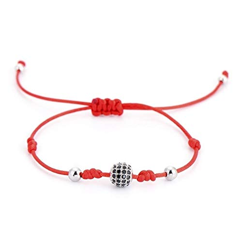 Ball Rose Gold Color Lace Lucky Bracelet Simple Design Black Copper Bead Rope Bracelet Unisex Hyococ (Color : Silver red rope)