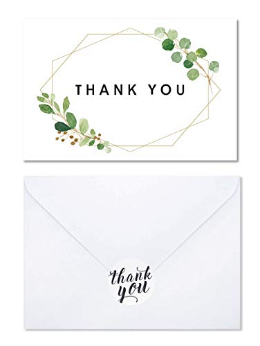 Watercolor Foliage Thank You Card -Elegant Design Thank you Greeting Card Bulk, Includes 40 Pack Blank Note Card,Envelopes and Stickers-Perfect For Wedding, Baby shower, Business,Bridal