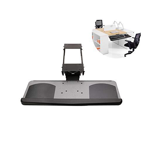 HMM Tastaturablage Unter Dem Schreibtisch, Tastaturhalterung Schwenkbar Um 360 ° Drehbar,Tastaturauszug Schiene, Edelstahlschlitten,Tastatur Und Mauspad Mit Silikon-handgelenkstütze