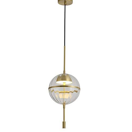Lámpara de suspensión de luz de vidrio de bola de vidrio de latón regulable, lámpara de suspensión de la decoración casera contemporánea de 3 colores Modo de cambio de 3 colores accesorio de iluminaci