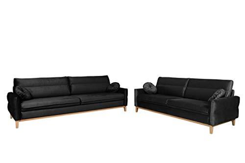 MOEBLO Polstergarnitur Ohrensofa 3 Sitzer und 2 Sitzer Sofa Couch Garnitur Stoff Samt (Velour) Glamour Wohnlandschaft - Estela (Schwarz)
