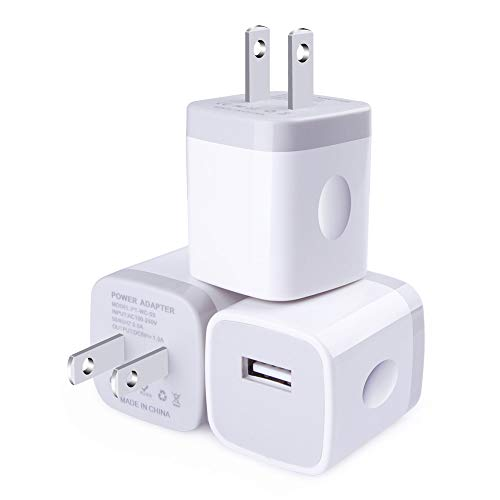 USB Wall Charger, CableLovers 1A/5V 3-Pack Travel USB Plug Charging Block Brick, Charger Power Adapter Cube Compatible Phone Xs/XS Max/X/8/7/6 Plus, Galaxy S9/S8/S8 Plus, Moto, Kindle, LG