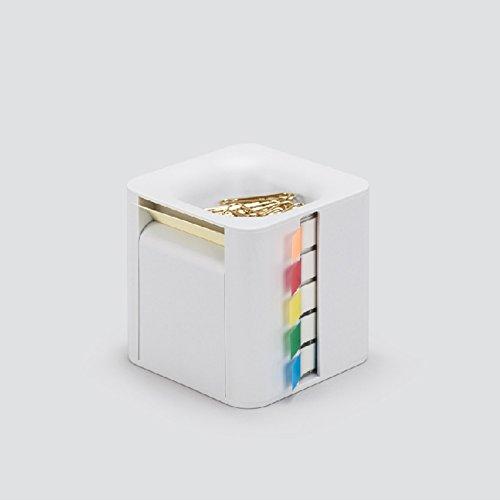 MEMO CUBE メモキューブ LIGHT GRAY / 使用頻度の高い付箋・クリップをこれ一個に収納 机の上がすっきり片付きます