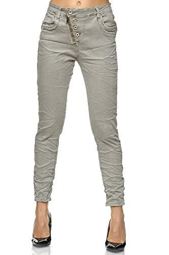 Elara Damen Jeans High Waist Hose Knöpfe Chunkyrayan F6623-4 Grey-36 (S)