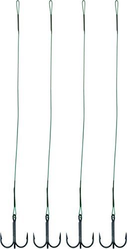 Lot de 4 bas de ligne en acier avec triple hameçon - Brochet, sandre - 40 cm de long, 4