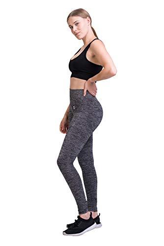 GYMTEX Sport Leggings Damen Seamless I Deutsche Marke I Nahtlos, Blickdicht und High Waist für Yoga und Fitness I Sportleggins Damen in Grau, Rosa Meliert GT1901 (L, Grau)