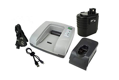 PowerSmart® Batería de repuesto NiMH de 3000 mAh, 24 V y cargador rápido para Bosch GBH 24VFR, GBH 24VRE, GBH 24VSR, 2 607 335 082 (gris)