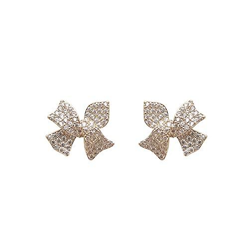 S925 Bowknot de aguja de plata lleno de diamantes Pendientes de personalidad Pendientes Pendientes de moda de temperamento de viento dulce Pendientes