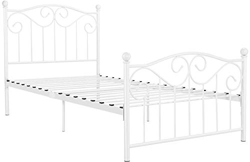 Yaheetech Kids Adults Metal Bed Frame Twin Size with Headboard and Footboard Mattress Foundation- Easy to Put Together White