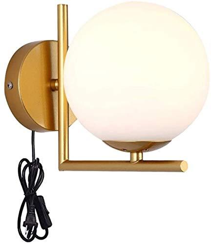 WYHYQY Moderno Creativo Aplique con Interruptor, Portavelas de Pared enchufable, Pantalla de Cristal Blanco lechoso (Base E27), para Leer en la Sala de Estar del Dormitorio, (Color: Oro),A
