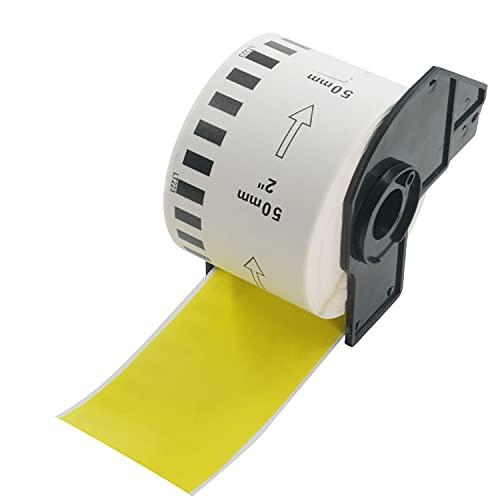 BETCKEY Compatible Etiqueta Continua de Color, Reemplazo para hermano DK-22223, 50mm x 30.48m, para Impresoras de Etiquetas Brother QL, [1 Rollo, Amarillo]