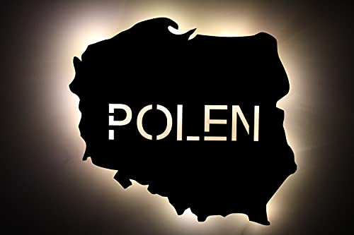 plska Polonia - Grabado láser LED con texto personalizado, luz nocturna para dormitorio, salón, regalo