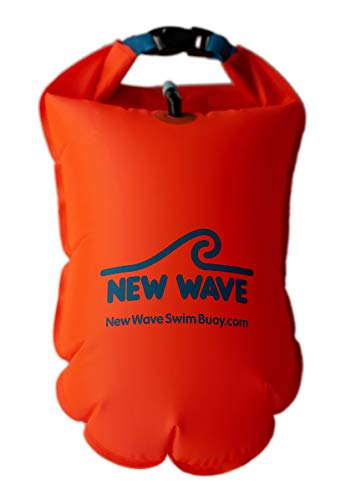 New Wave Swim Buoy for Open Water Swimmers and Triathletes - Light and Visible Float for Safe Training and Racing - Nylon TPU (Orange 20L Large)