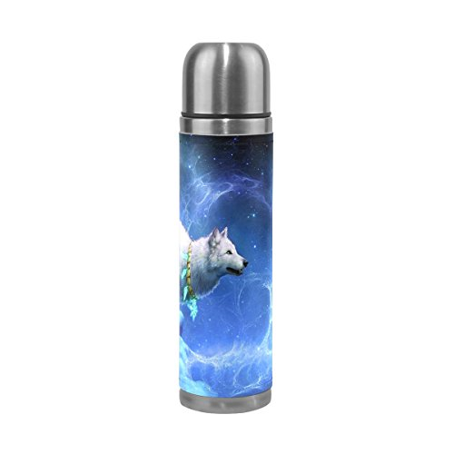 Eslifey - Borraccia termica con lupo che guarda la galassia e la luna, in acciaio INOX