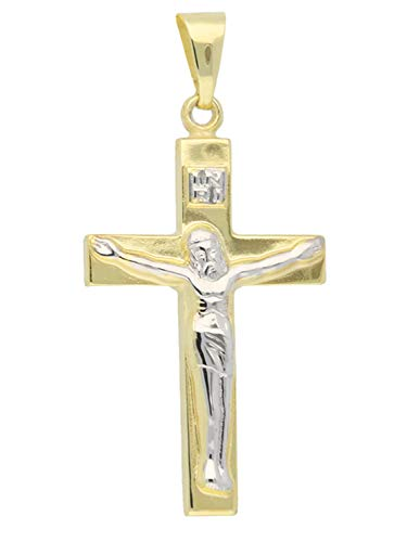 MyGold Kruis hanger (zonder ketting) geel goud witgoud 375 goud (9 karaat) bicolor 16 mm x 32 mm Jezus corpus gouden kruis ketting communie vormsel geschenken Inri V0004497