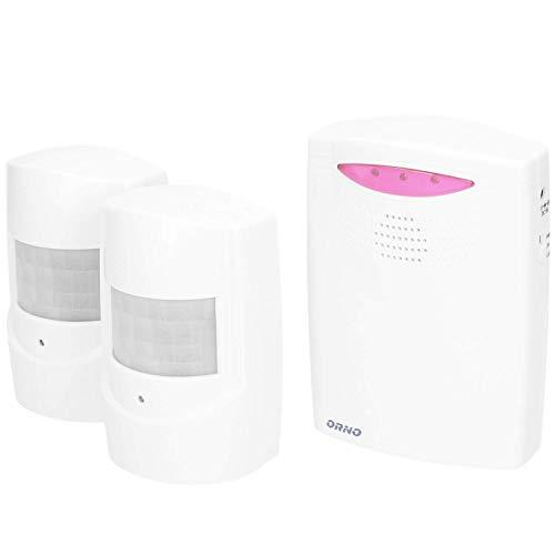 ORNO OR-MA-710 Drahtlose Bewegungsmelder mit Alarm, IP44 Wasserdicht, 2 Bewegungsmelder Inklusive
