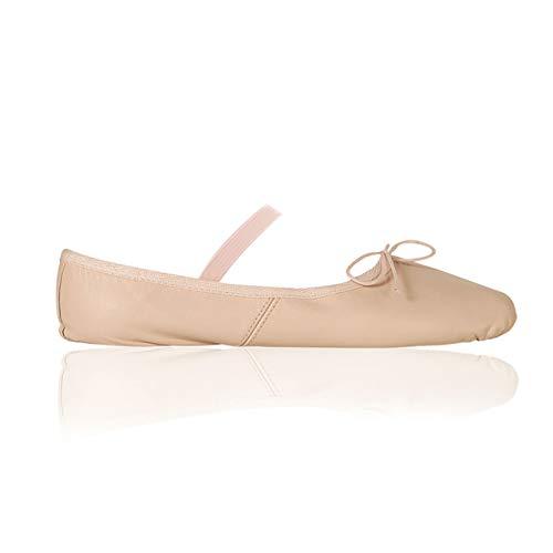 Papillon Ballettschuhe, Spitzenschuhe für Kinder und Erwachsene, Ballettschläppchen mit Gummiband, Leder, Geteilte Sohle aus Wildleder, Pink
