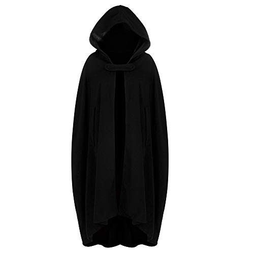 WOCACHI Womens Cape Hooded Cardigans Cloak Long Solid Open Front Poncho Outerwear Button Shawl Winter Coat Big Deals (Black, X-Large)