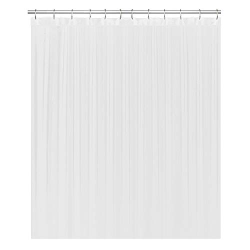 LiBa Fabric Bathroom Shower Curtain, 72' W x 72' H White Heavy Duty Waterproof Shower Curtain