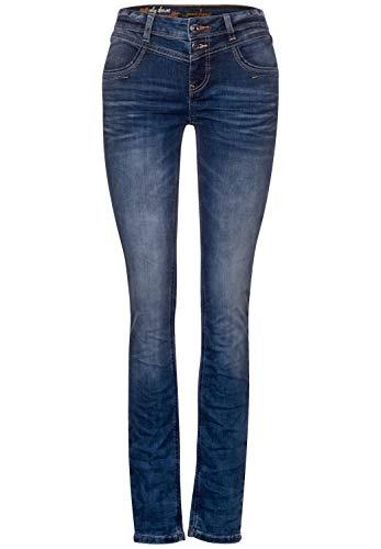 Street One Damen 373377 Denim Style Jane Casual Fit Hose, Sportive Blue Indigo wash, W31/L30