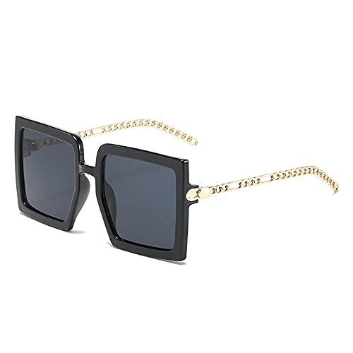 WANGZX Gafas De Sol Cuadradas De Gran Tamaño para Mujer A La Moda Gafas De Cadena De Metal Retro Gafas De Sol Uv400 De Tono Degradado para Hombres