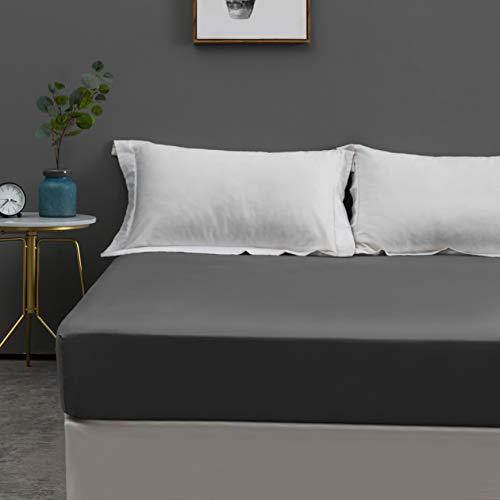MOHAP 100% Coton Drap Housse 160x200cm Gris Bonnet Elastique 30cm