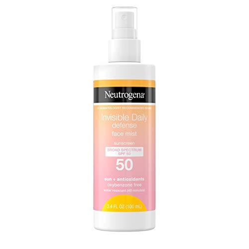 Neutrogena Invisible Daily Defense Face Mist, Broad Spectrum SPF 50 Sunscreen, Oxybenzone-Free, Sun & Environmental Aggressor Protection, Antioxidant Complex, 3.4 fl. oz
