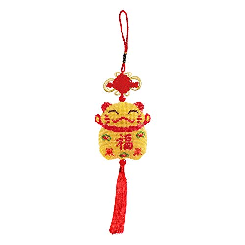 Springlinges Tassel Stamp Bead Cross Stitch Pendant Chinese Knot Lucky Cat Kit (AH-031)