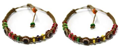 2 Bracelet ŒIL CHANCEUX charme de perle ethnique cordon BRUN pour succès mode