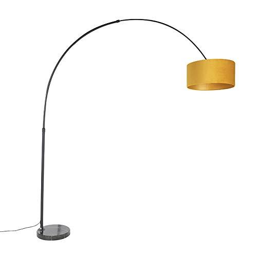 QAZQA Modern Bogenlampe schwarz mit Veloursschirm ockergelb mit Gold/Messing 50 cm - XXL/Innenbeleuchtung/Wohnzimmerlampe/Schlafzimmer Stahl/Marmor/Textil Länglich/Zylinder/Rund LED geeign