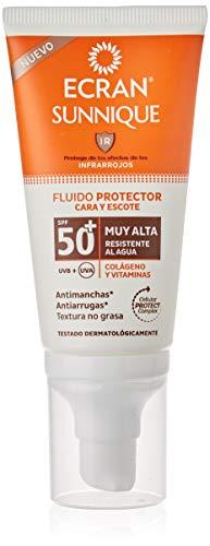 Ecran Sunnique, Fluido Protector Cara y Escote con SPF50+ - 50 ml