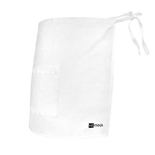 HEYNNA® Vorbinder Kochschürze 100% Baumwolle belastbar & einfach zu reinigende Schürze - perfekt auch als Kellnerschürze und Backschürze (weiß)