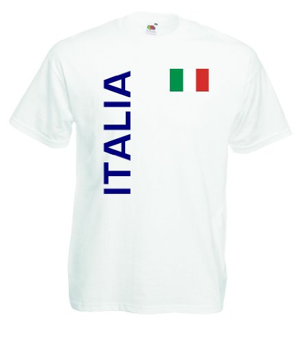 world-of-shirt Italia / Italien Herren T-Shirt Trikot|weiß S