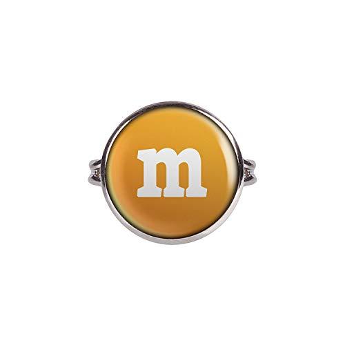Mylery Anillo con Motivo Letra m Naranja Plata Diferentes tamaños