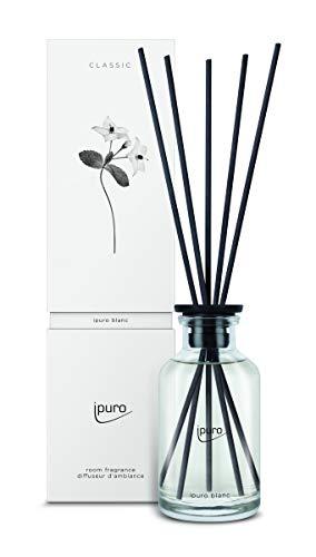 ipuro Classic blanc Raumduft - Raumduft mit frischer und reiner Wirkung (Sommerregen) - Lufterfrischer mit hochwertigen Inhaltsstoffen 240 ml – aus Glas mit Rattanstäbchen