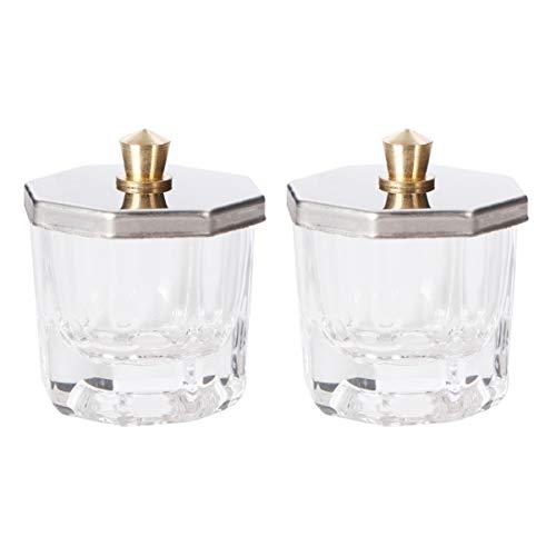 SOLUSTRE Uppsättning av 2 glas nagelkonst nappskål med lock akrylpulver vätska dappen skål glas kristall kopphållare glas nagelverktyg för nagelkonst akrylpulver vätska